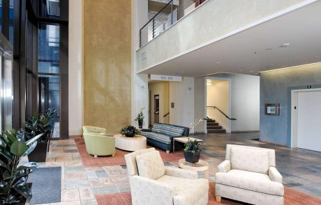 Interior photo showing lobby in building 3875 at Hacienda West, a 208,883 SF Class A office project located in the prestigious Hacienda Business Park in Pleasanton, CA