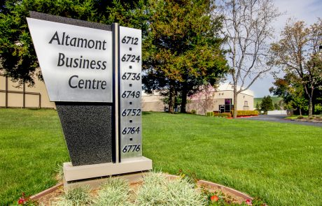 Monument sign at Altamont Business Centre, a 151,139 SF office located in a beautiful park-like setting only minutes from I-580.
