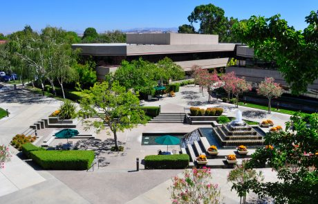 Aerial photo showing courtyard at Hacienda West, a 208,883 SF Class A office project located in the prestigious Hacienda Business Park in Pleasanton, CA