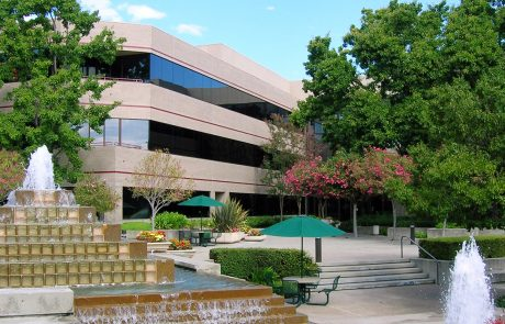 Exterior photo showing fountains at Hacienda West, a 208,883 SF Class A office project located in the prestigious Hacienda Business Park in Pleasanton, CA