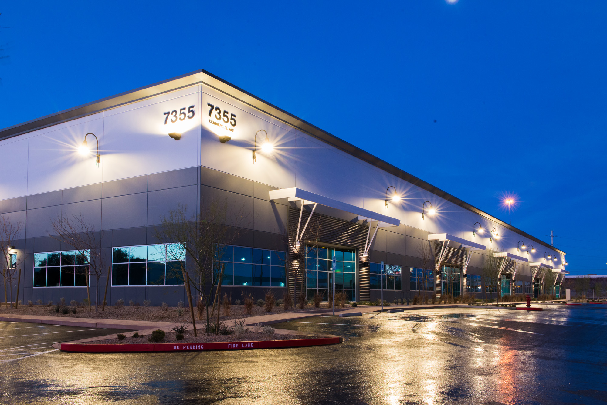 Exterior photo, length of building 7355 at blue hour, Henderson Commerce Center - Commercial Way