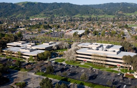 Aerial photo of Hacienda West, a 208,883 SF Class A office project located in the prestigious Hacienda Business Park in Pleasanton, CA