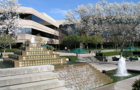 Exterior photo showing architecture and fountain at Hacienda West, a 208,883 SF Class A office project located in the prestigious Hacienda Business Park in Pleasanton, CA