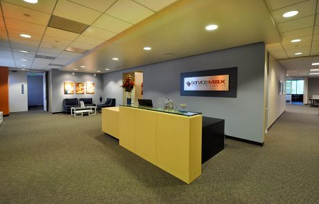 ServiceMax Lobby at Hacienda West, a 208,883 SF Class A office project located in the prestigious Hacienda Business Park in Pleasanton, CA