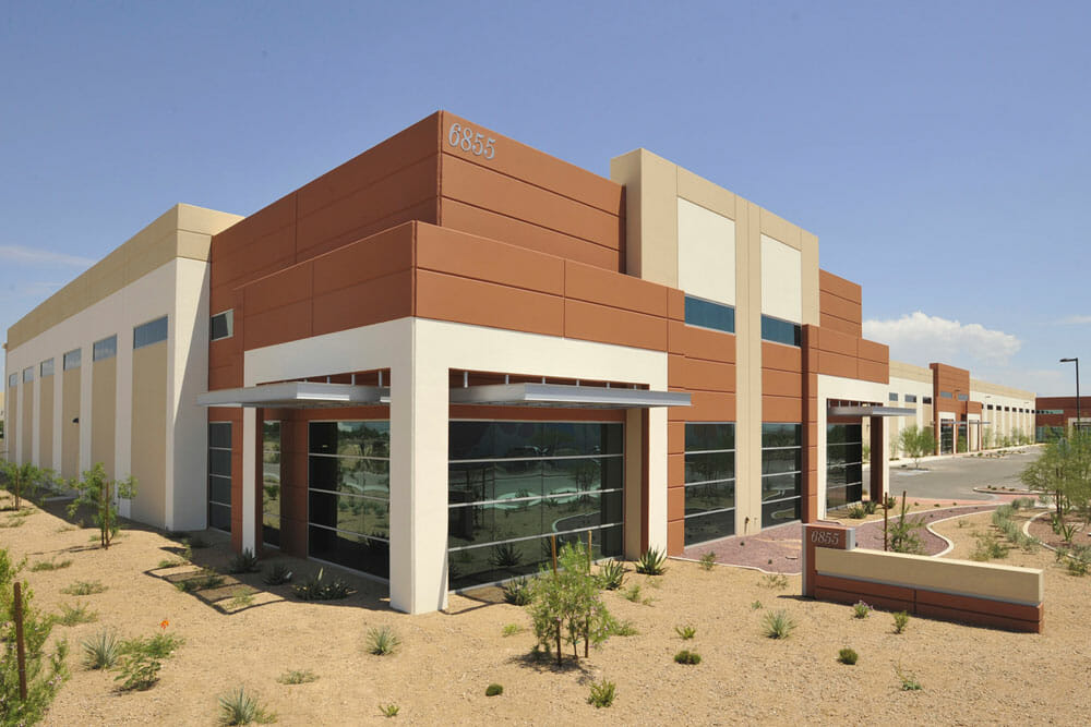 Exterior of building 6855 at Tucson Airport Distribution Center industrial office building