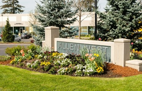 Allen West Business Center is a 90,000 SF, lushly-landscaped project that offers both office and flexible industrial space in the heart of corporate Beaverton.