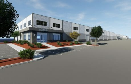 Rendering of Denney Road Commerce Center, a multi-tenant industrial business park located in the heart of Beaverton near many support services and amenities.