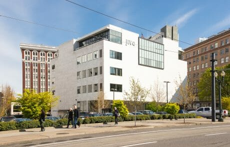 Located just two blocks south of Portland's Brewery Blocks, The Reserve, a trapezoidal, four-story building with a rich history as a former Federal Reserve, features renovated office space and an 8,000-square-foot penthouse.