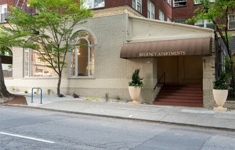 With a Walkscore of 99 and vintage charm, the Regency Apartments offers city living surrounded by abundant transportation options.