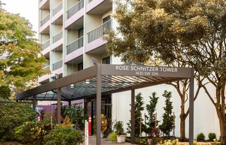 Rose Schnitzer Tower Apartments offers affordable, unique one-bedroom apartments with spacious kitchens and balconies designed for independent living.