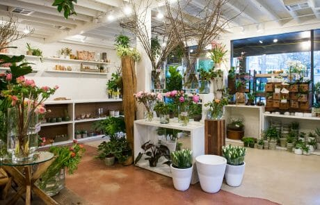 Interior with seasonal flowers for sale at Sammy's Flowers