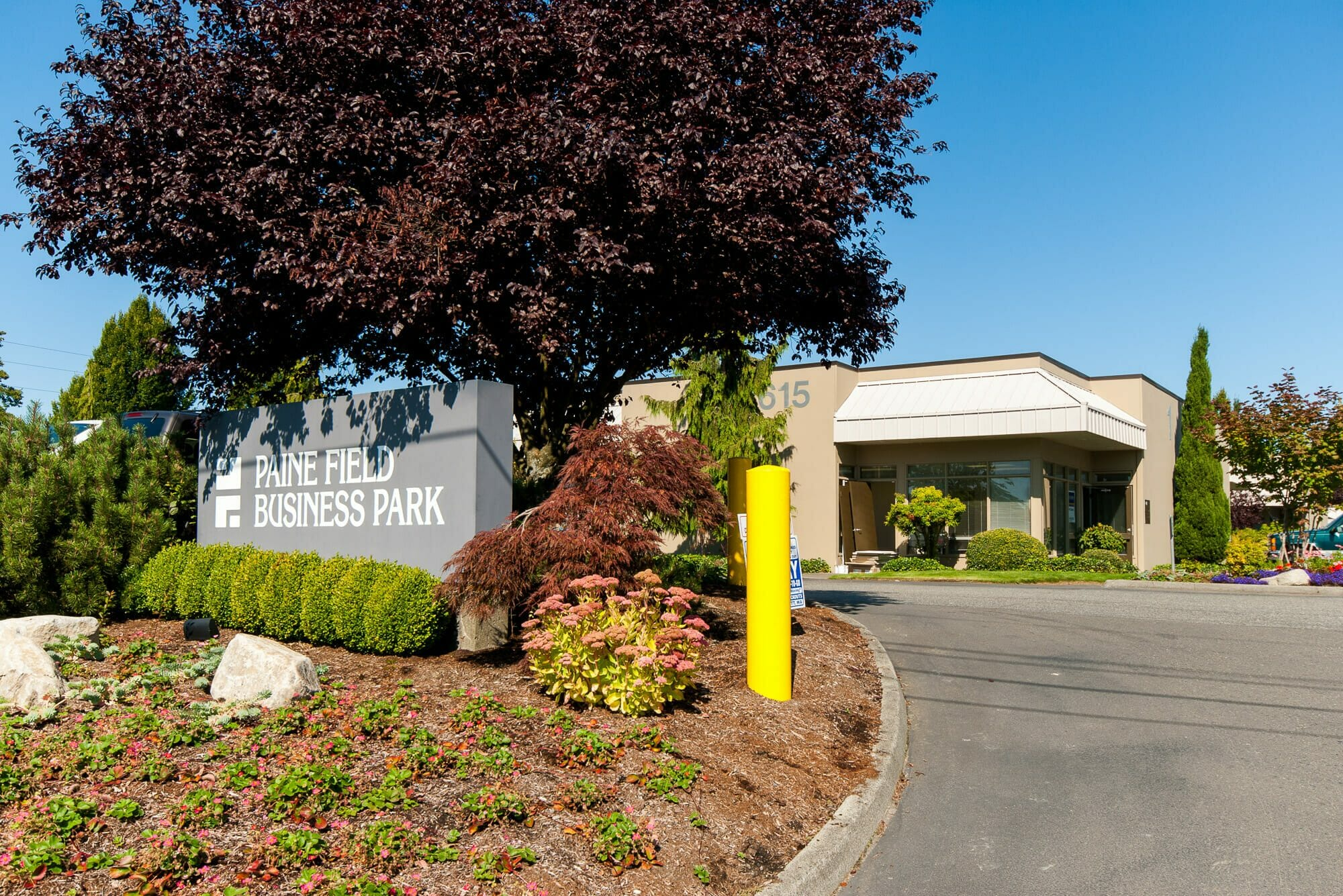 Exterior of Paine Field Business Park with monument sign