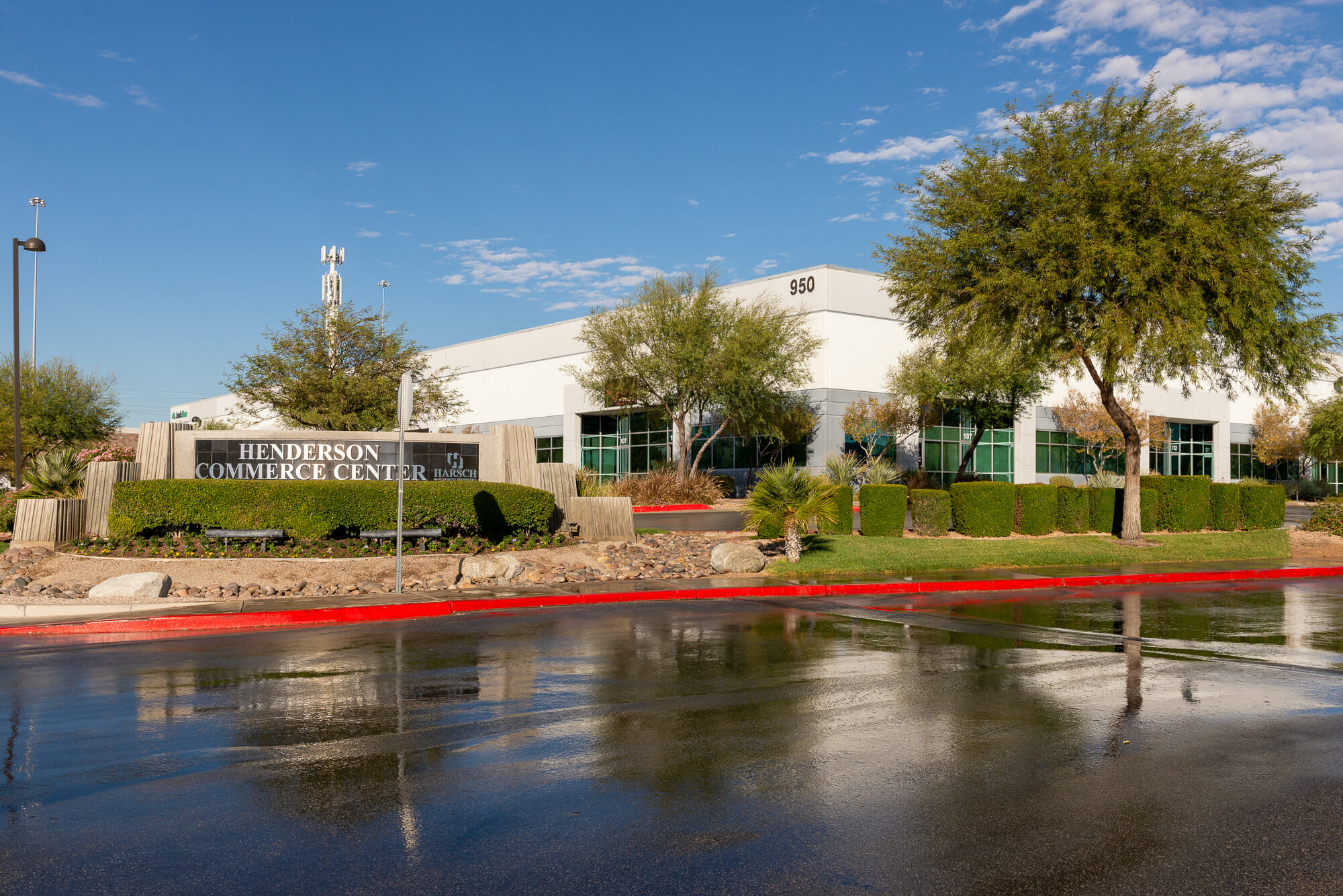 Exterior of Building 950 at Henderson Commerce Center - Warm Springs with monument sign