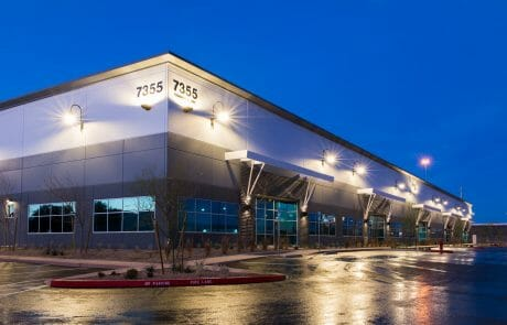 Exterior of building 7355 at Henderson Commerce Center - Commercial Way at dusk