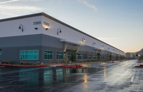 Exterior of building 7365 at Henderson Commerce Center - Commercial Way at dusk