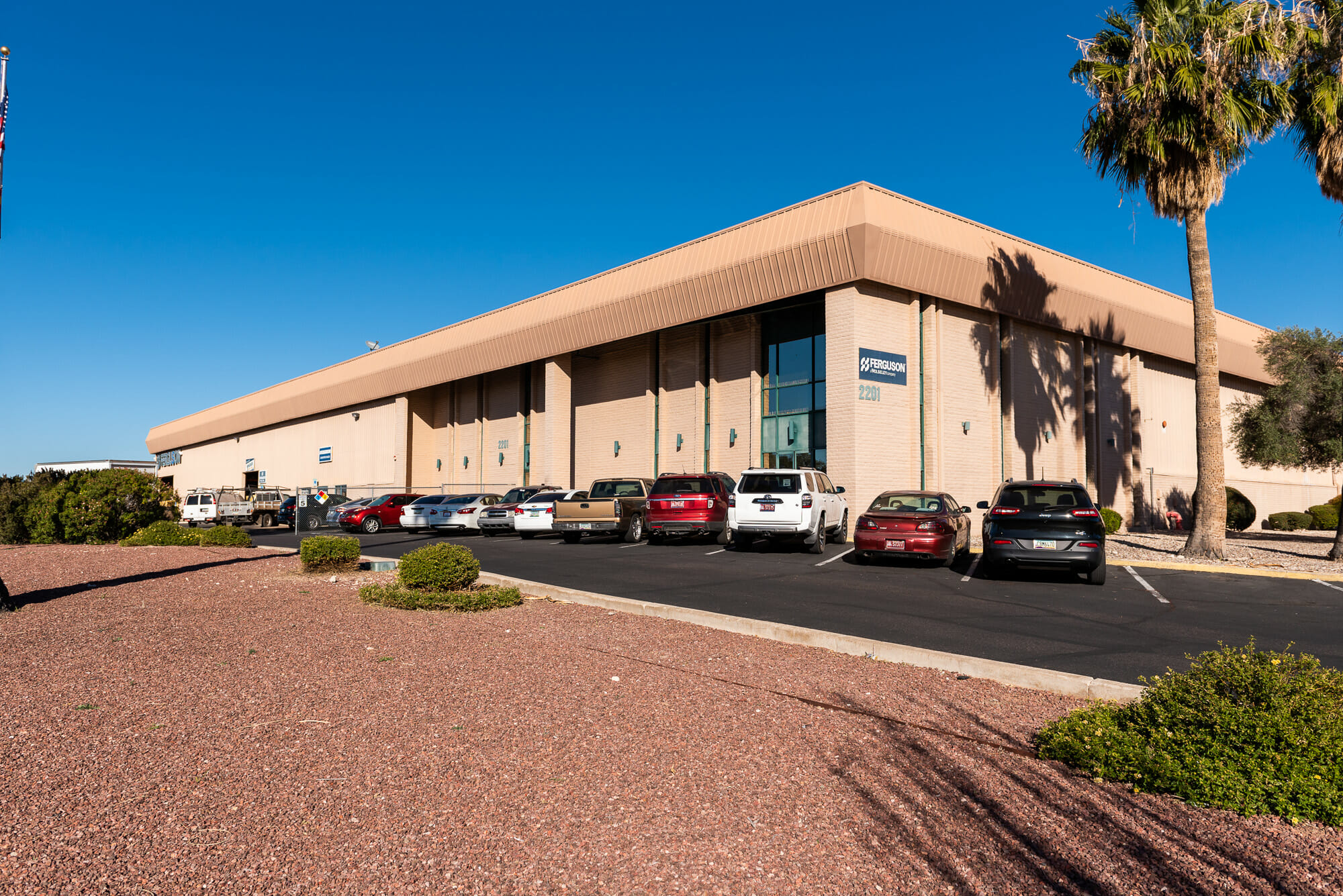 Industrial building with desert landscaping at Medina Commerce Center