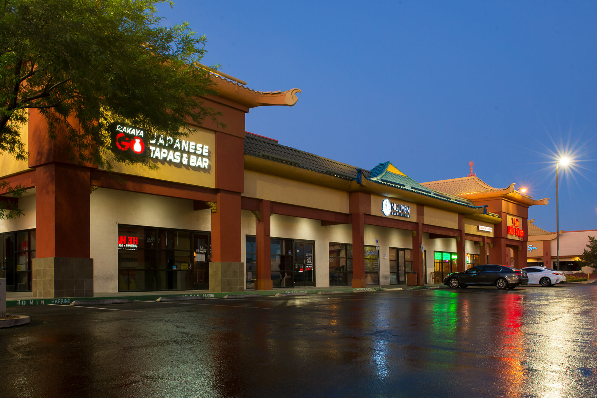 Exterior photos of Spring Mountain Square at night, Rakaya