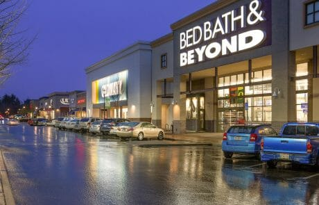 Bed Bath and Beyond and Old Navy at Gresham Station Shopping Center at night