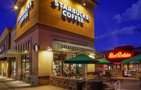 Starbucks and Red Robin at Gresham Station Shopping Center at night
