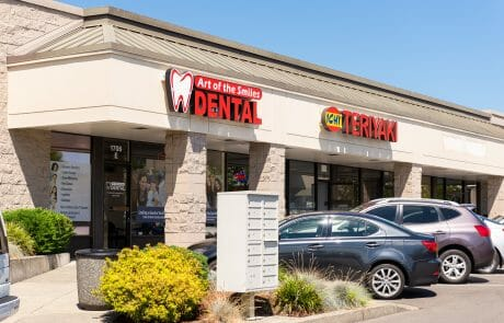 Art of Smiles Dental and Ichi Teriyaki at Seatac Village Shopping Center