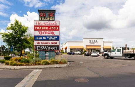Monument sign in front of Ulta Beauty at Seatac Village Shopping Center